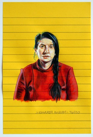 Jésica López, Marina Abramovic, 2011, acrylic on post-it, 15 x 10 cm.